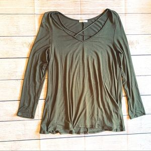 Jodifl Criss across Long Sleeve Olive Top